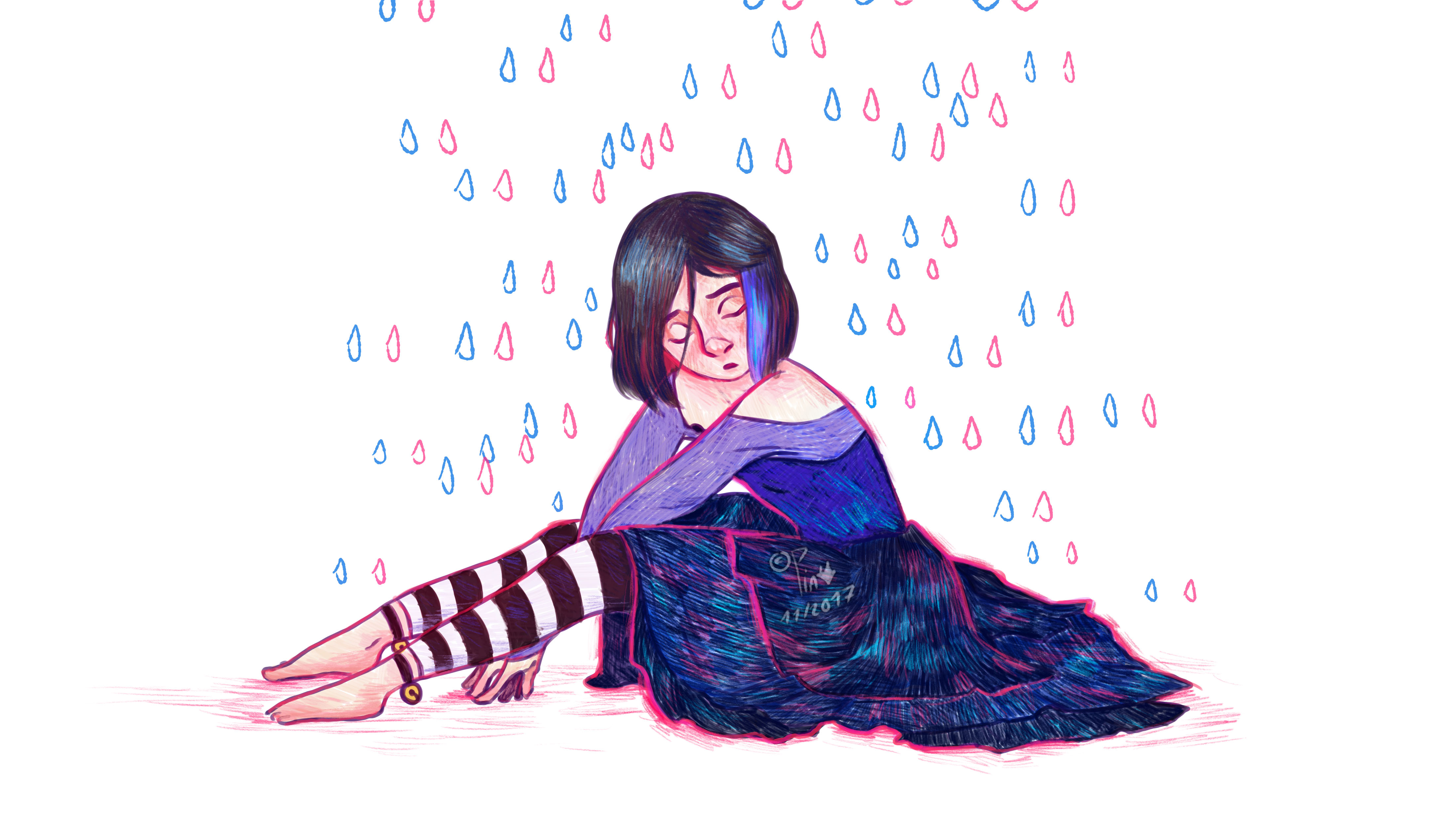 girl sitting on the floor, closed eyes and rain in blue and pink
