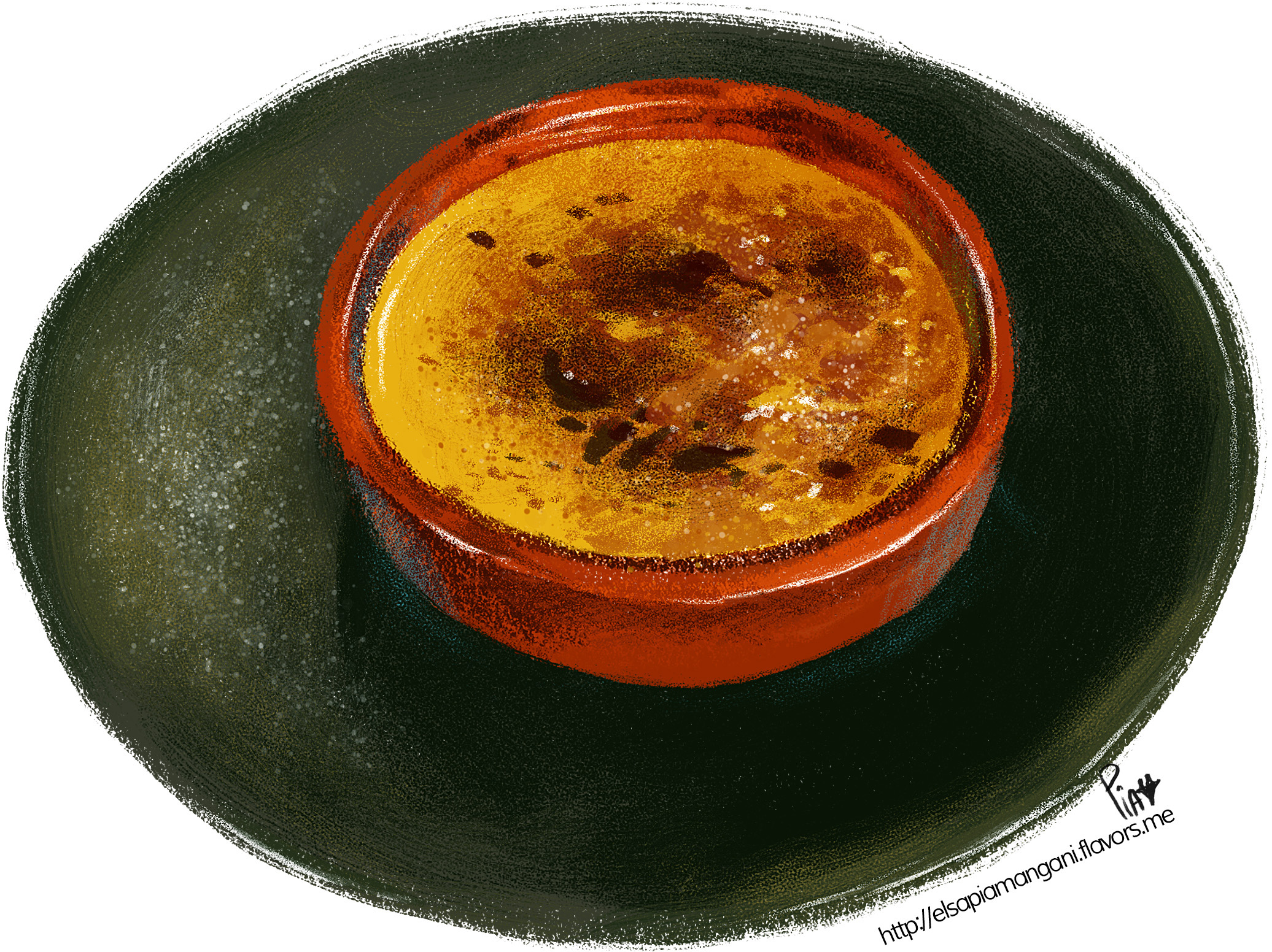 creme brulee on a green plate