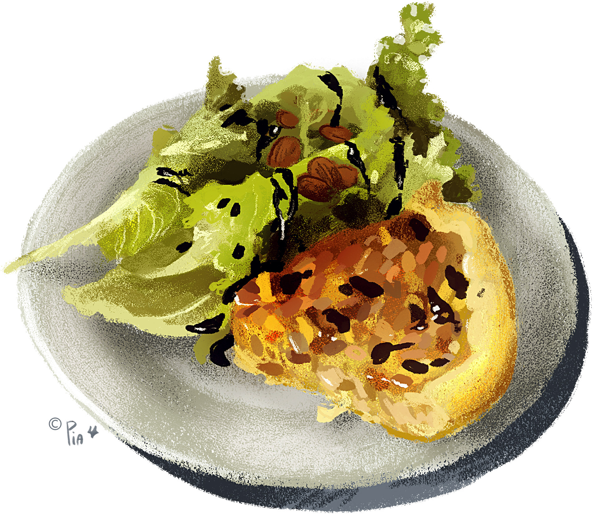 a plate with a leek pie and a salad