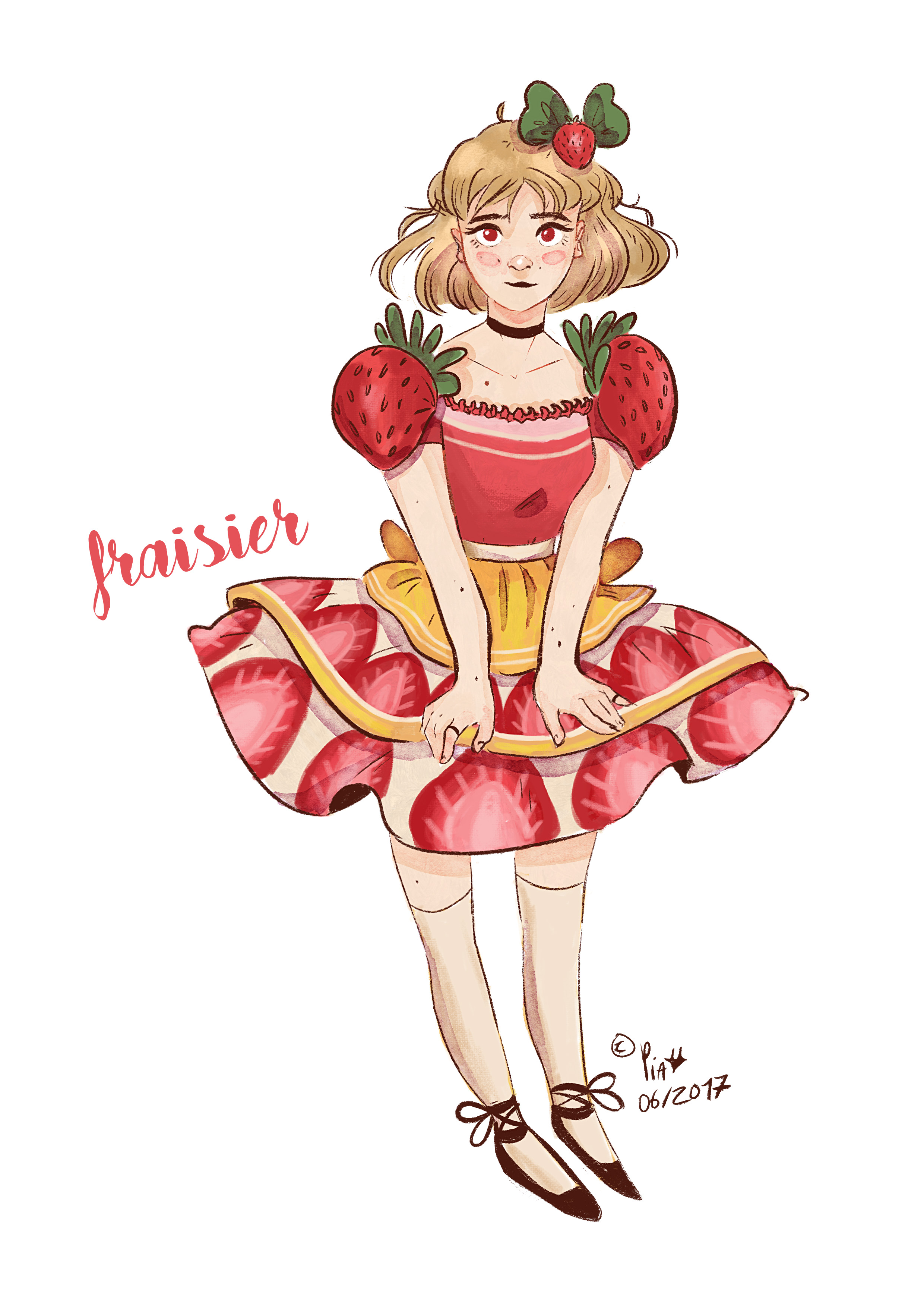 girl with a dress with strawberries