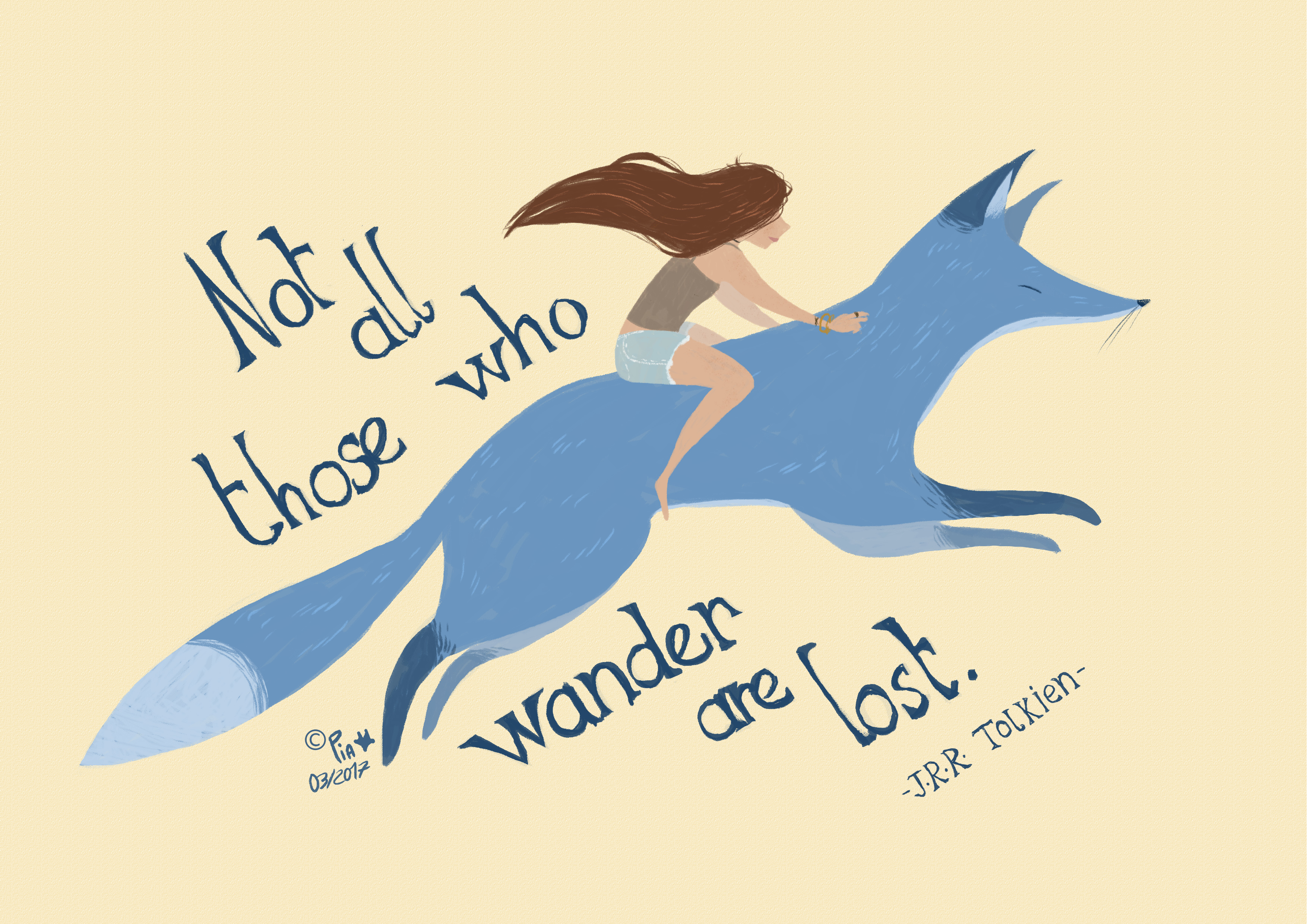 a girl in a blue fox with a quote