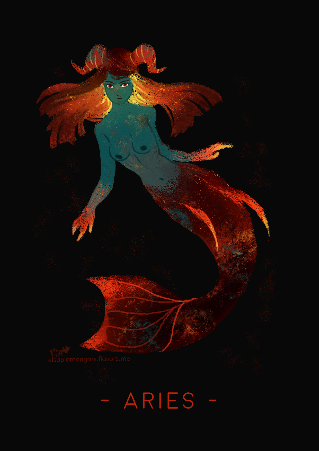 green and fire mermaid aries