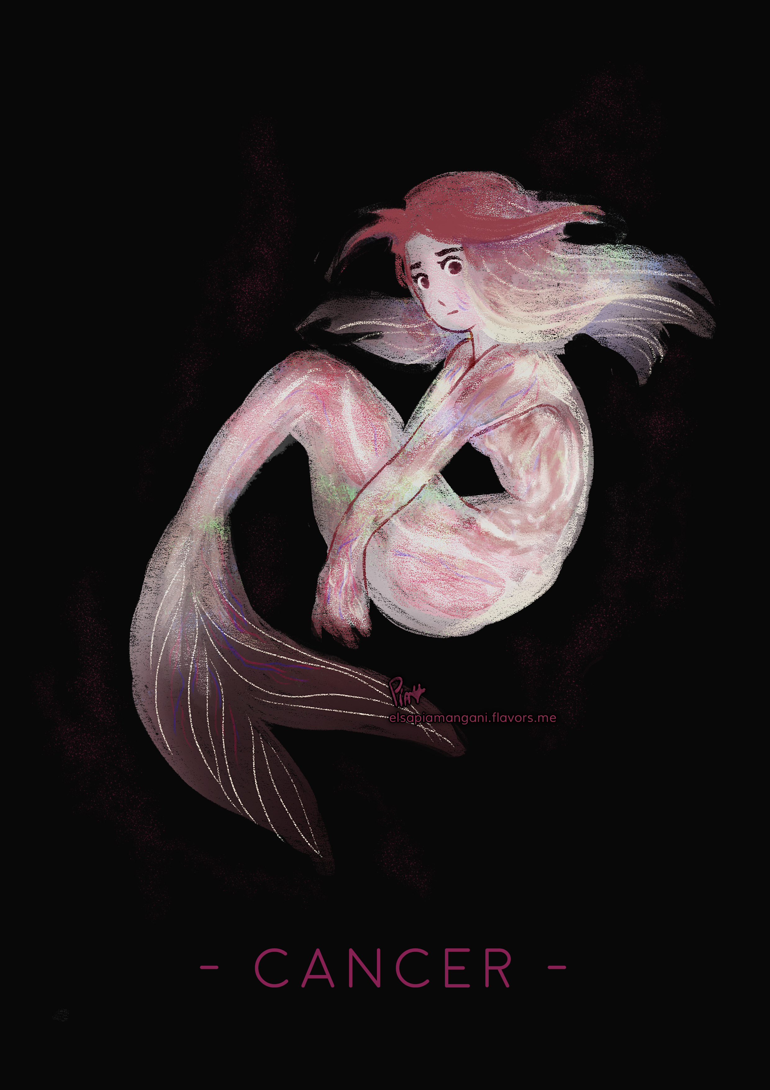 pink and white mermaid cancer