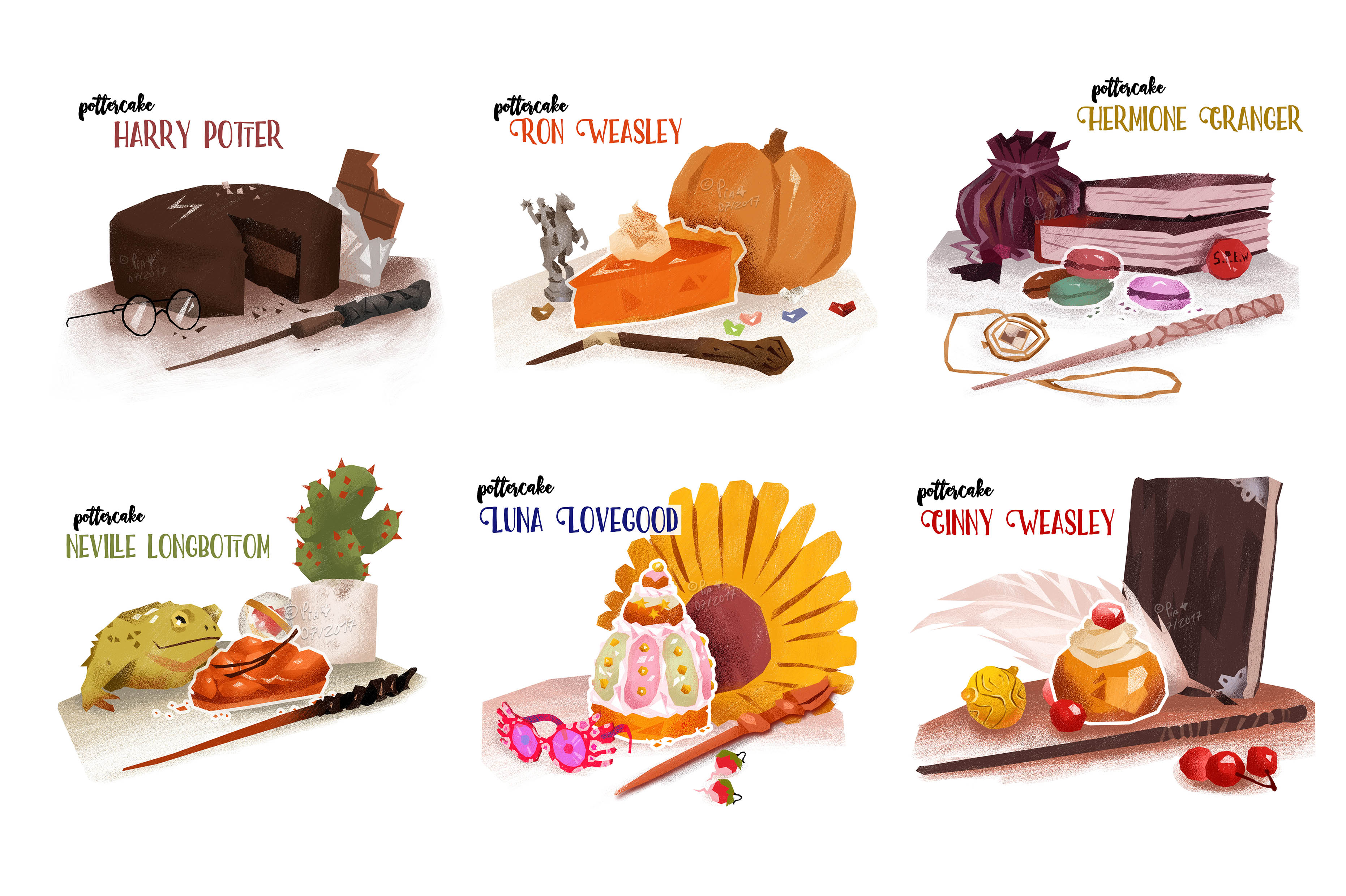 some cakes related to Harry Potter characters