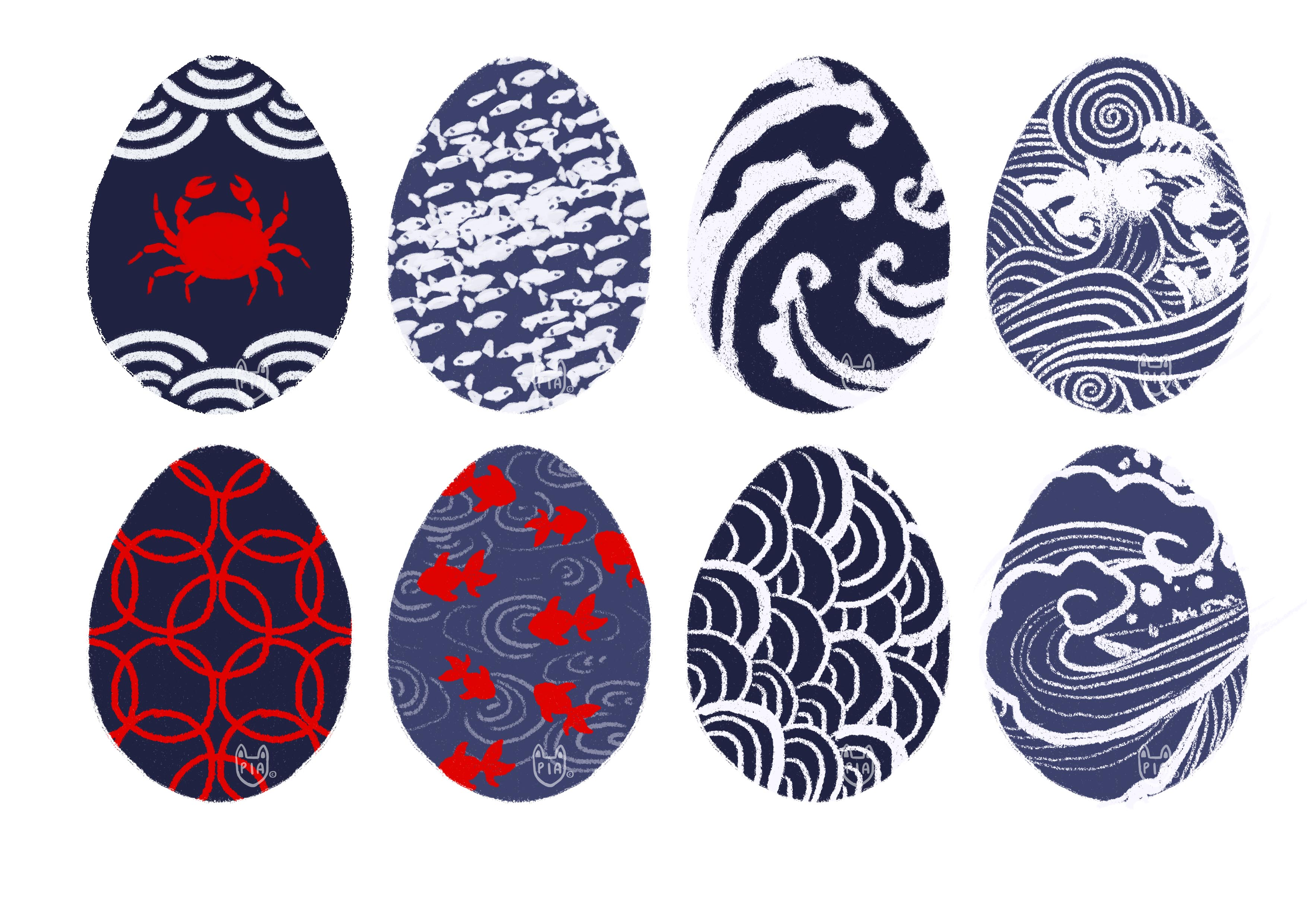 eggs with blue, white and red patterns